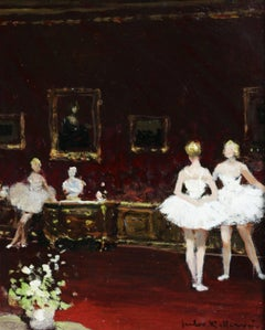 Ballet Dancers - Impressionist Oil, Figures in Interior by Jules Rene Herve
