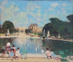 """Bassin des Tuilleries and the Louvre, Paris,"" Jules Herve, French Impressionism"
