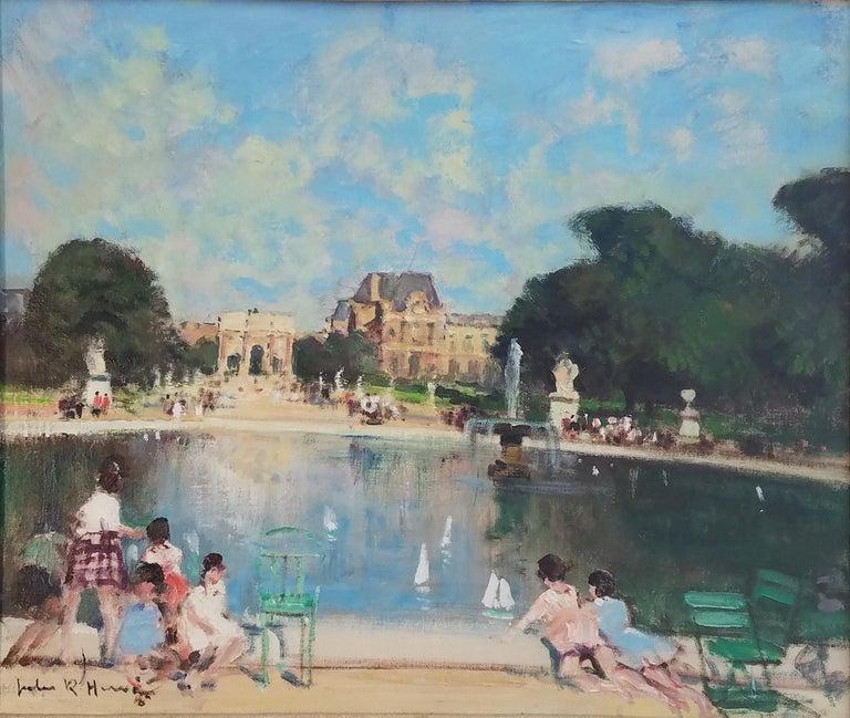 """Jules René Hervé Landscape Painting - """"Bassin des Tuilleries and the Louvre, Paris,"""" Jules Herve, French Impressionism"""