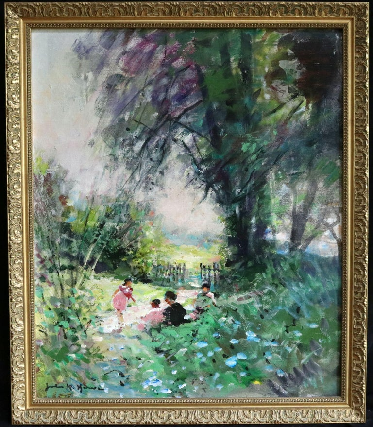 Children Playing - 20th Century Oil, Figures in Landscape by Jules Rene Herve - Painting by Jules René Hervé