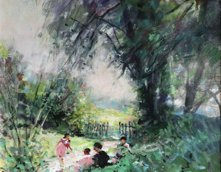 Children Playing - 20th Century Oil, Figures in Landscape by Jules Rene Herve - Impressionist Painting by Jules René Hervé