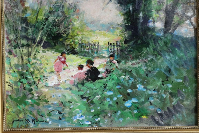 Children Playing - 20th Century Oil, Figures in Landscape by Jules Rene Herve - Gray Figurative Painting by Jules René Hervé