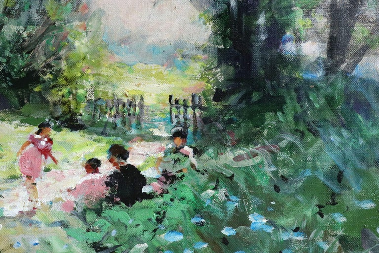 Oil on canvas circa 1950 by Jules René Hervé depicting children playing in a summer landscape. Signed lower left and verso. Framed dimensions are 24 inches high by 20 inches wide.  Jules René Hervé (French, 1887-1981) was an Academic painter, born