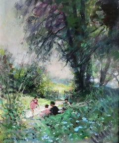 Children Playing - 20th Century Oil, Figures in Landscape by Jules Rene Herve