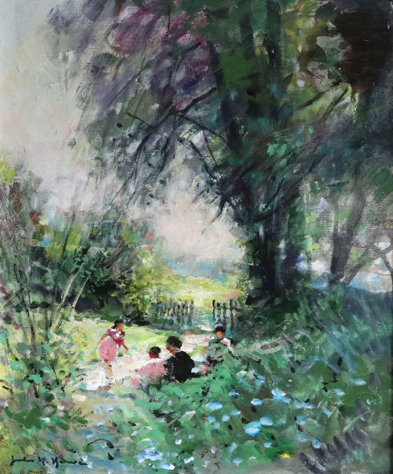 Jules René Hervé Figurative Painting - Children Playing - 20th Century Oil, Figures in Landscape by Jules Rene Herve