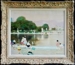 Children sailing toy boats at the Jardin des Tuileries, Landscape by J R Herve