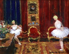 Danseuse a l'Atelier - 20th Century Oil, Ballerina Figures in Interior by Herve