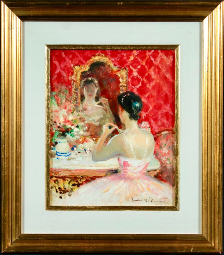 Danseuse a sa Toilette - Post Impressionist Oil, Figure in Interior by J R Herve - Painting by Jules René Hervé