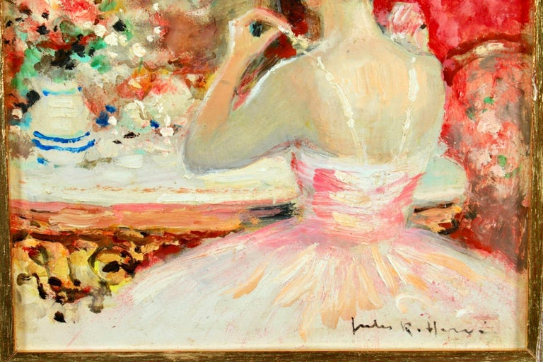 Danseuse a sa Toilette - Post Impressionist Oil, Figure in Interior by J R Herve - Beige Interior Painting by Jules René Hervé
