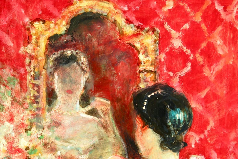 Danseuse a sa Toilette - Post Impressionist Oil, Figure in Interior by J R Herve 2