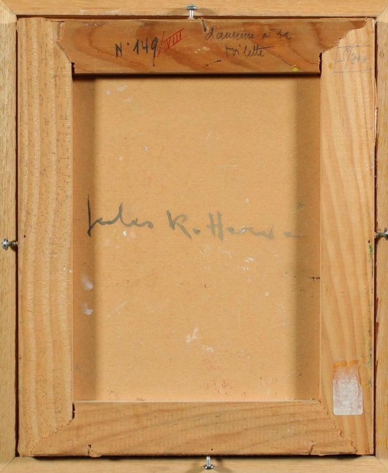 Danseuse a sa Toilette - Post Impressionist Oil, Figure in Interior by J R Herve 3