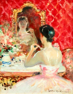 Danseuse a sa Toilette - Post Impressionist Oil, Figure in Interior by J R Herve