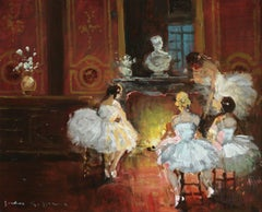 """Danseuses au Coin du Feu"" Herve C.19th French Impressionist Ballerinas Interior"