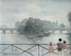 Enfants sur la Seine - 20th Century Oil, Children by River Landscape by J Herve