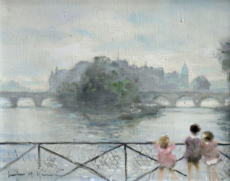 Oil on canvas circa 1940 by Jules Rene Herve depicting three young children standing at a fence looking out over the River Seine with a bridge and view of the city in the distance. Framed dimensions are 14 inches high by 17 inches wide.  Jules René