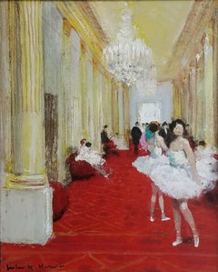 """Entre Acte - Ballerinas at the Opera,"" Jules Herve, French Impressionism"