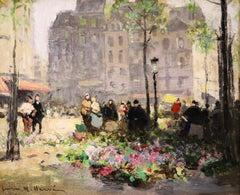 Flower Market - Impressionist Oil, Figures in City Landscape by Jules Rene Herve