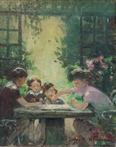 """Game of Checkers"" Jules Herve, French Impressionism, Family Playing in a Garden"