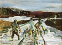 Hunters in the Snow - 20th Century Oil, Figures in Landscape Hunting by J Herve