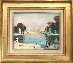 """Jardin des Tuileries, Paris"" Impressionist Oil Painting on Canvas with Figures"