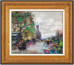 Jules Herve Original Oil Painting On Canvas Paris Cityscape Signed Flower Art