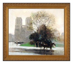 JULES R. HERVE Original OIL PAINTING On CANVAS Paris Cityscape Signed Horse Art