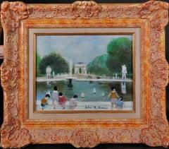 JULES RENE HERVE (1887-1981) SIGNED ORIGINAL OIL - CHILDREN PLAYING PARIS PARK