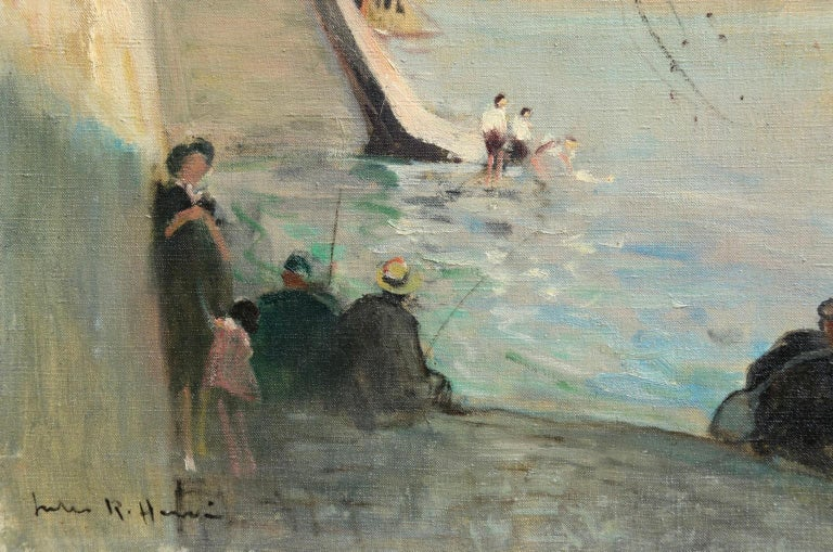 La Seine au Pont Neuf - Impressionist Oil, Figures by River - Jules Rene Herve For Sale 1