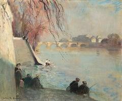 La Seine au Pont Neuf - Impressionist Oil, Figures by River - Jules Rene Herve