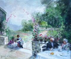 L'ete sur la Terrasse - 20th Century Oil, Figures in Garden by Jules René Hervé