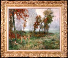 Nymphs Dancing - 20th Century Oil, Nude Figures in Landscape by Jules Rene Herve