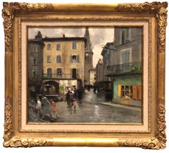 Oil painting 'The Square' by Jules Rene Herve (French 1887-1981)