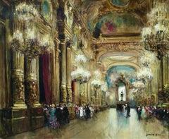 Opera Garnier - Paris - 20th Century Oil, Elegant Figures in Interior by Herve