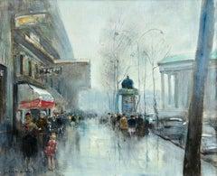 Paris - La Madeleine- Impressionist Oil, Figures in Cityscape - Jules Rene Herve