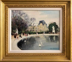 Paris Le Basin des Tuilleries, Oil on Canvas