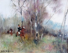 Riders and Horses, French equestrian country scene, by Jules René Hervé
