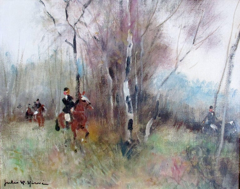 I probably need not introduce French Post-Impressionist master Jules-Réné Hervé, whose work is handled by some of the greatest galleries in the world.  I am delighted to be able to offer you a superb, autumnal oil on canvas, depicting riders in the