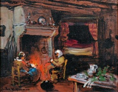 SIGNED ORIGINAL OIL - KNITTING AROUND THE FIREPLACE FRENCH COTTAGE INTERIOR