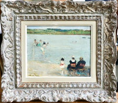 Sur la Plage - 20th Century Oil,  Figures at the Beach by Jules Rene Herve