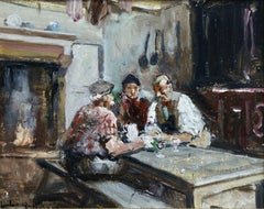 The Conversation - Post Impressionist Oil, Figures in Interior by Jules R Herve