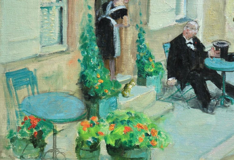 A beautiful oil on canvas circa 1930 by French impressionist painter Jules Rene Herve depicting a gentleman sitting outside of a Parisian cafe being served by a waitress. Signed lower right.   Dimensions: Unframed: 15