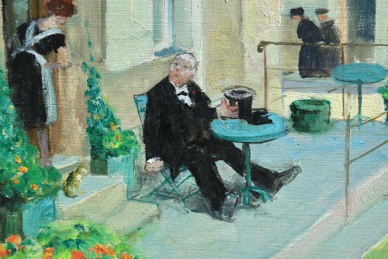 Visit au Cafe - Impressionist Oil, Figures in Landscape - Jules Rene Herve For Sale 1