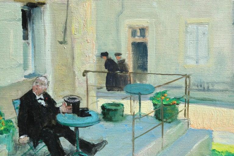 Visit au Cafe - Impressionist Oil, Figures in Landscape - Jules Rene Herve For Sale 2