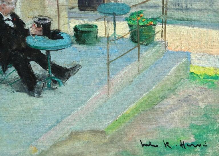 Visit au Cafe - Impressionist Oil, Figures in Landscape - Jules Rene Herve For Sale 3