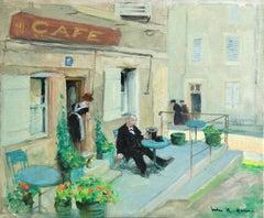 Visit au Cafe - Impressionist Oil, Figures in Landscape - Jules Rene Herve