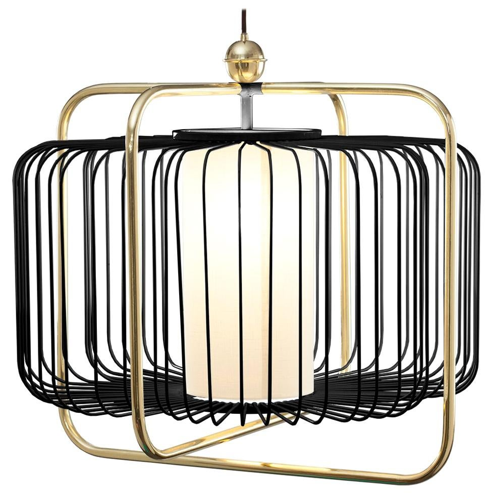Contemporary Art Deco inspired Jules I Pendant Lamp in Brass and Black