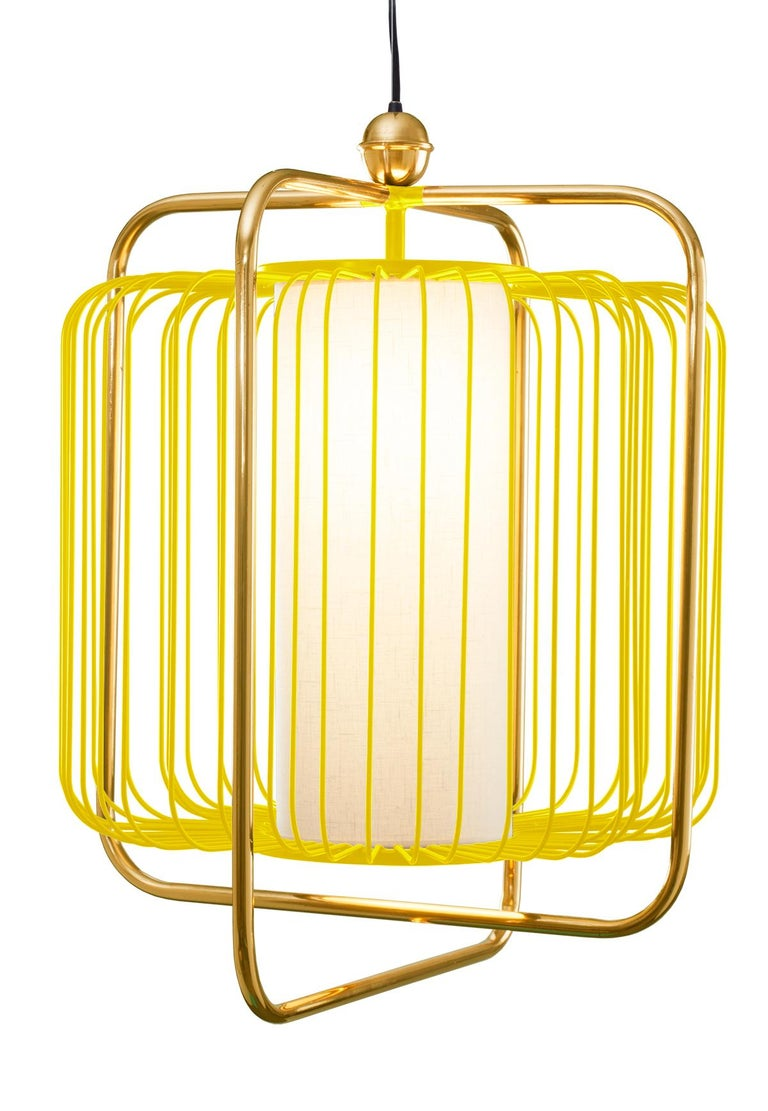 Contemporary Art Deco inspired Jules Pendant Lamp in Brass and Black For Sale 7