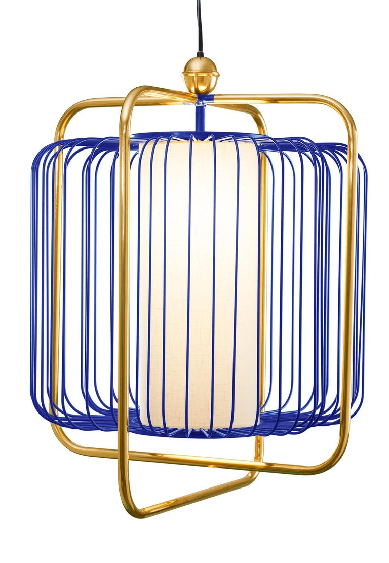 Contemporary Art Deco inspired Jules Pendant Lamp in Brass and Black In New Condition For Sale In Lisbon, PT