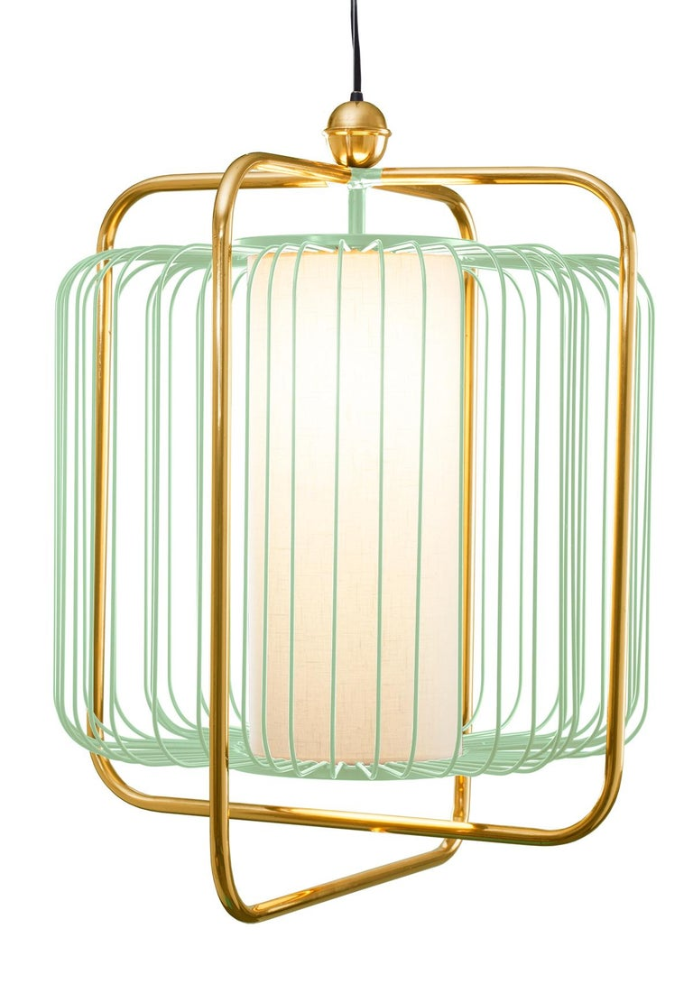 Metal Contemporary Art Deco inspired Jules Pendant Lamp in Brass and Black For Sale