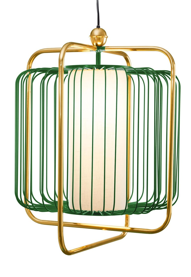 Contemporary Art Deco inspired Jules Pendant Lamp in Brass and Black For Sale 1
